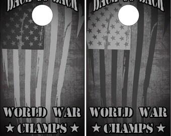 American Flag World War Champs LAMINATED Cornhole Wrap Bag Toss Decal Baggo Skin Sticker Wraps