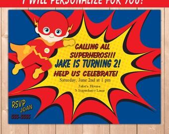 Flash Birthday Party Invitation, Flash Birthday Invitation, Flash Superhero Birthday Party Invitation, Boy Personalize for You