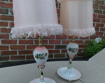 Vintage, pair of milk glass lamps, pink lamps, 1950 lamp, bedside table, read in bed, nightstnd table, milkglass lamps
