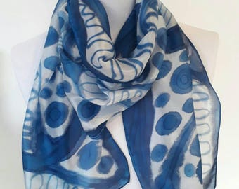 Blue and white silk scarf,silk scarves,handpainted silk scarf,original design,classical scarves,blue scarf,made to order,Silkincolour.