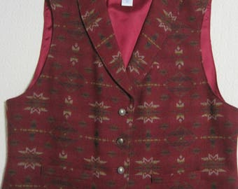 Pendleton VEST, Women's, Size 16, 100% Virgin Wool, Acetate Back, Made in USA, Vintage