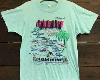 70's California Coastline Hollywood Los Angeles Tee Shirt