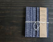 Wrap-Around Notebook, Hardcover, Kimono Fabric Cover,  Indigo Blue, 112 Pages of Unlined Recycled Paper, Eco Friendly, Journal, Sketchbook