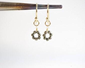 Pyrite Earrings - Fool's Gold Earrings - Edgy Jewelry - Simple Gold Fill Earrings - Dainty Circle Dangle Earrings - Glamorous Gift for Her