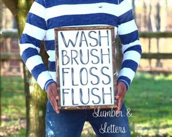 Bathroom Wall Decor - Farmhouse Bathroom - Wash Brush Floss Flush - Kids Bathroom Wall Decor - Bathroom Signs - Farmhouse Bathroom Signs