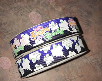 "Tis the Season to be Spooky  Ghosts   USDR 7/8"" ribbon   Coordinated grosgrain set for bows and crafts"