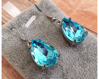 Turquoise Glass Earrings, Blue Earrings, Sparkle Earrings, Drop Earrings, Dangle Earrings, Glass Crystal