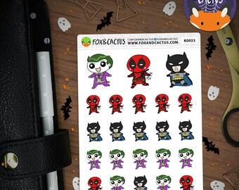 Cosplay Kawaii Guys V2 - Super Heroes Halloween  - Planner Stickers (K0033)