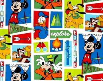 Disney Fabric, Disney Mickey Fabric: Mickey and friends- Explore Everywhere Blocks 100% cotton Fabric by the yard