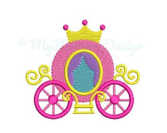 Princess Carriage Embroidery Design - Girl Embroidery Pattern - Machine embroidery digital dowload file - INSTANT DOWNLOAD 5 SIZES