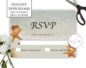 DIY Wedding RSVP/Instant Digital Download/Beach