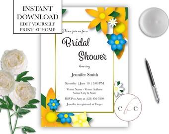 DIY Printable Bridal Shower Invite - Flowers/Editable/Digital Download