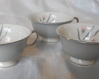 Flair by Castleton China - Made in the USA - Coffee cups/set of 3 - Gray with pink flowers