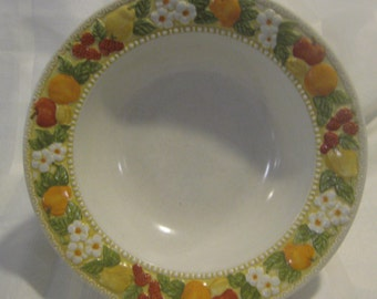"Della Robbia 10"" serving bowl  - Vernon Ware by Metlox made in California #577  oranges, applies, berries and daisies"