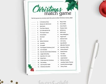 Christmas Party Game - Christmas Movie Match Up - Fun Holiday Party Game for Teens and Adults - Instant Download - 5x7 Printable
