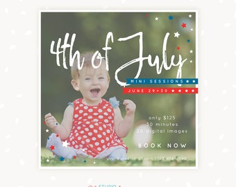 4th of July mini session photoshop template, Independence Day Marketing Board, Mini Session Photoshop, Fourth of July, Patriotic, USA, stars