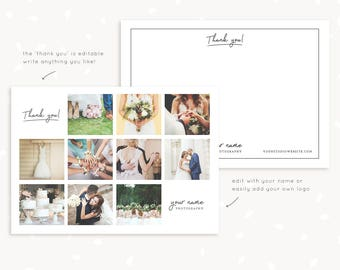 """Note cards for photographers, thank you card template, photoshop template, """"thank you"""", custom text & colors, printable postcard collage"""