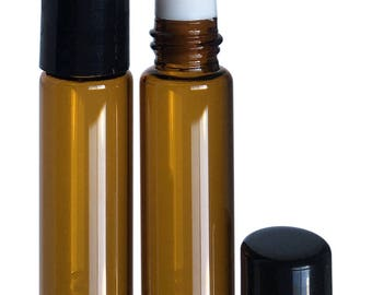 5ml Slim Amber Roller Bottles with Stainless Steel Rollers and Black Caps