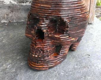 Skull/skull replica human scale of 1 wooden / vanity / skull / Cabinet of curiosities / reclaimed wood