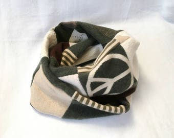 Cashmere Scarf, Infiniti Scarf, scarf, Cashmere, Patchwork, Recycled sweater scarf, Women's sweater scarf, Women's scarf
