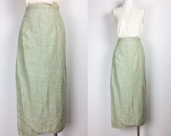 vintage FLAX linen skirt/ wrapped skirt/ maxi skirt/ women's size M