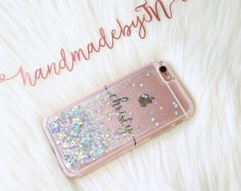 Personalized Glitter Phone Case X/5/5s/SE/6/6s/6s/7/8 plus iPhone case Samsung Galaxy Note 8 note 5/s6 edge Plus/S7/S8+ Google pixel 2 xl
