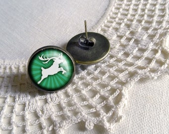 Green Reindeer Earrings- Christmas Earrings
