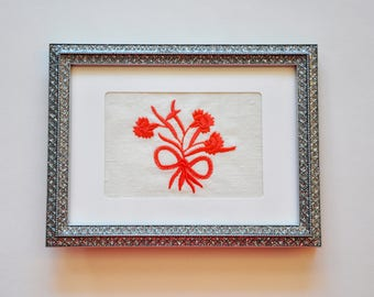 DAR Carnation Bouquet Frameable Embroidery/Greeting Card, Coral Sunset on Cream Linen