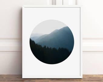 Mountain Photography, Circle Art, PRINTABLE Wall Art, Mountain Print, 8x10 Print, Nordic Decor, 11x14, A4, Nature Prints, Tree Wall Art, CM4