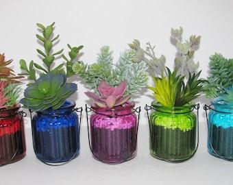 Succulent Planter in Colored Glass, Desk Accessory, Artificial Succulent Arrangement, Tabletop Decoration, Succulent Gift