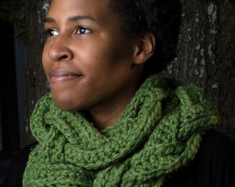 Braided crochet infinity scarf