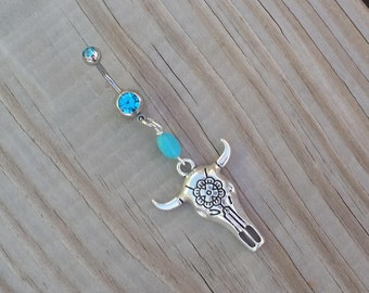Steer Head Rose Belly Button Ring, Silver Belly Ring, Cow Skull Navel Ring, Navel Piercing, Body Jewelry.