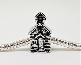 Silver School House Charm for European Bracelets (item 333)