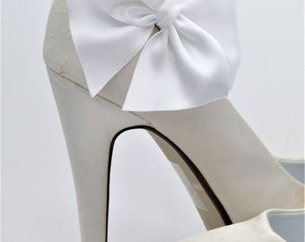 White Satin Shoe Clips Bows For Bridal Shoes Bridal Shoe Clips Wedding Accessory by SassyxBridal White Ivory