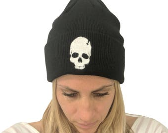 Black Skull Knit Hat Beanie