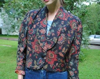 Vintage Jacket, Tapestry Jacket, CC Magic, Toni Garment, Vintage 80's, Cropped Cardigan, Vintage Clothing, Small, Medium, Floral Jacket