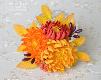 Autumn Wedding hair clip Gift for her Boho wedding Gift for mother Chrysanthemum Rustic gift Hair accessories Flower for hair Orange flower