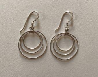 Vintage 925 Sterling Silver Light Triple Halo Drop Earrings