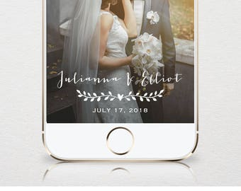 Wedding SnapChat Geofilter, Custom GeoFilter, Rustic Snapchat Filter, 100% Editable Template, Instant Download, Unlimited Use  #NC-102GF