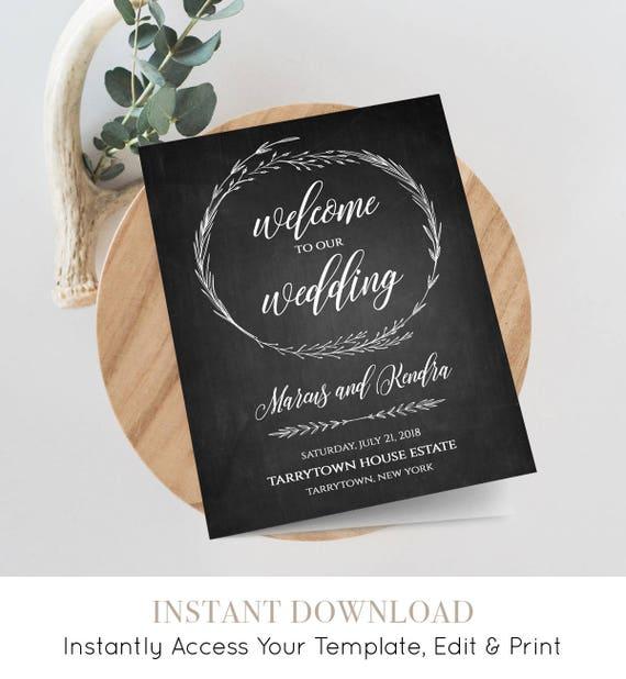 Rustic Wedding Program Template, 100% Editable, INSTANT DOWNLOAD, Printable Ceremony / Order of Service, Wreath, Chalkboard, DIY #022-104WP