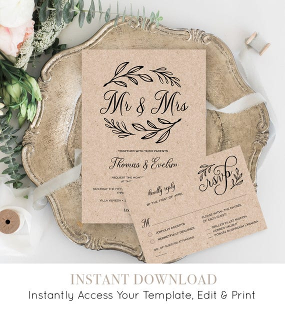 Printable Wedding Invitation Suite, Mr and Mrs Rustic Wedding Invite, RSVP, Details Card, DIY, Instant Download, Editable Template #027B