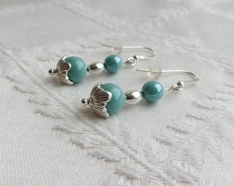 Silver and Turquoise Drop Earrings, SE-244