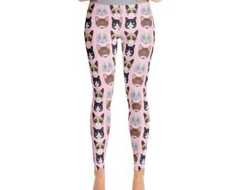 Pink Cat Print Women's Yoga Pants - Yoga Leggings - Yoga Pants - Cute Yoga Pants - Cat Print Leggings - Cat Lover - Cat Gift - Cat Leggings