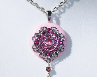 Pink Cat's Eye Button Necklace, Fuchsia Rhinestones,  Light Pink Button, Drop Pendant, Pink Pendant Necklace, Jewelry, Pink Necklace