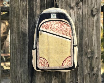 Handmade Pure Hemp backpack, Padded Laptop Compartment