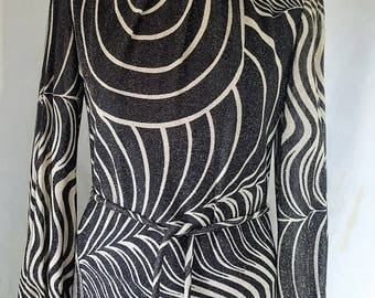 Seventies vintage dress, Gold and black, maxi dress, Peter Barron, in need of some repair, but stunning! Size 10