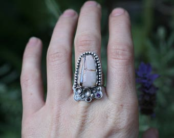 Sonora Jasper ring with white topaz, garnet, and amethyst. Sterling silver ring size 6.75