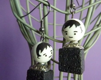 Earrings in Platinum metal boy face body and porcelain organic Black Pearl