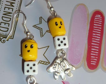 Earrings in sterling silver 925 Fimo polymer clay lego minifigure head bead of playing and hand charm
