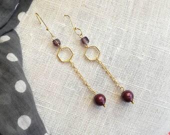 Long earrings gold and Burgundy